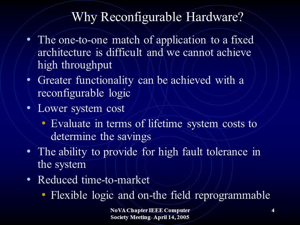 NoVA Chapter IEEE Computer Society Meeting- April 14, 2005 4 Why Reconfigurable Hardware.