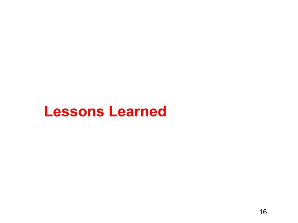 16 Lessons Learned