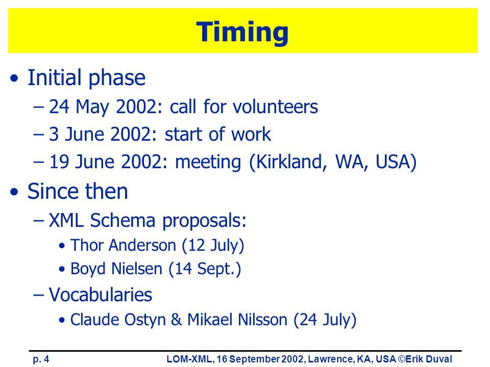 p. 4LOM-XML, 16 September 2002, Lawrence, KA, USA ©Erik Duval Timing Initial phase –24 May 2002: call for volunteers –3 June 2002: start of work –19 J
