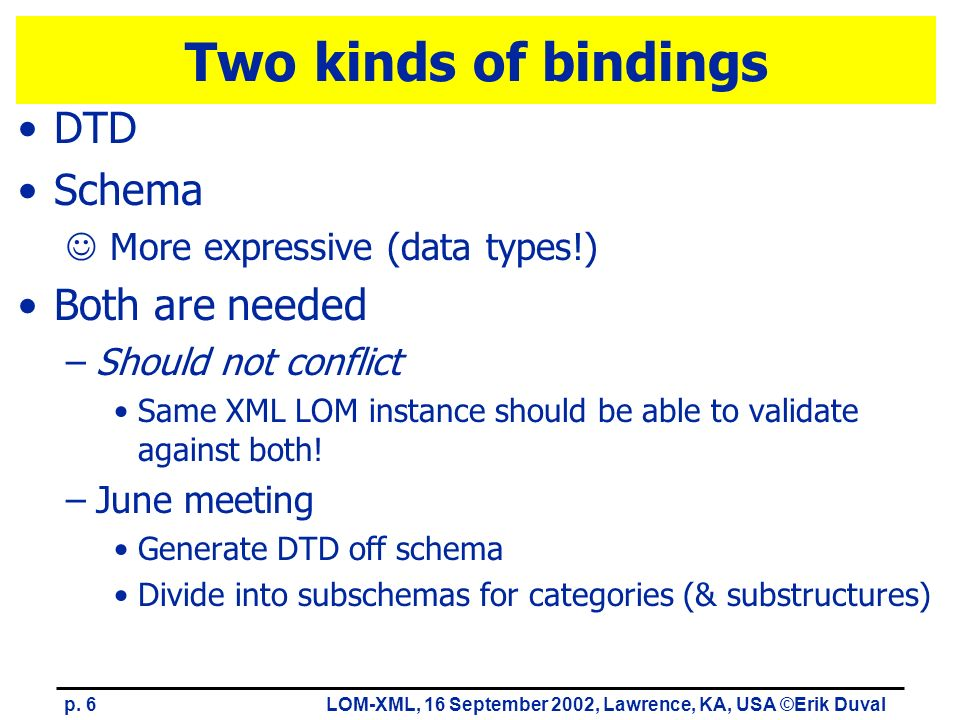 p. 6LOM-XML, 16 September 2002, Lawrence, KA, USA ©Erik Duval Two kinds of bindings DTD Schema More expressive (data types!) Both are needed –Should n