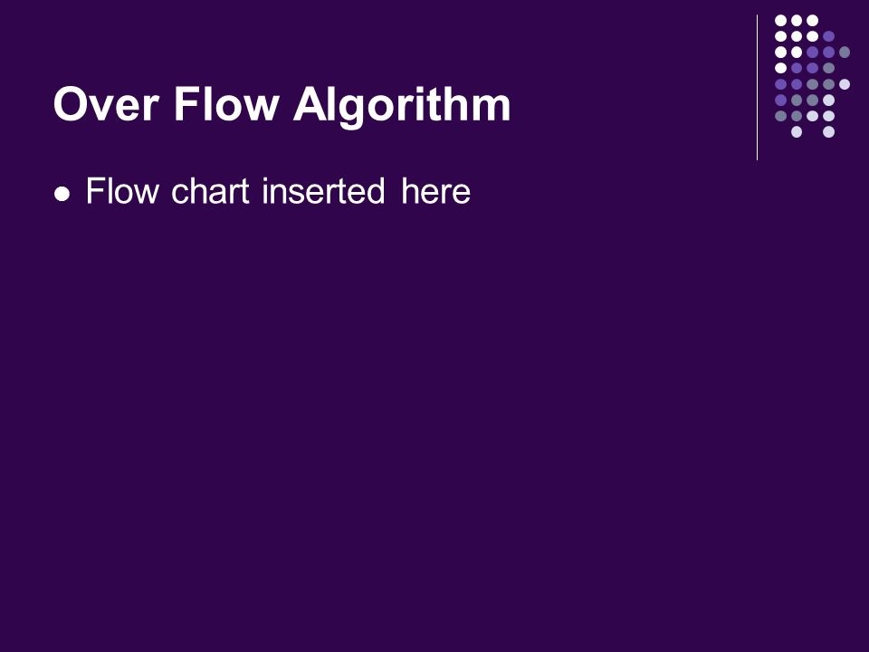 Over Flow Algorithm Flow chart inserted here