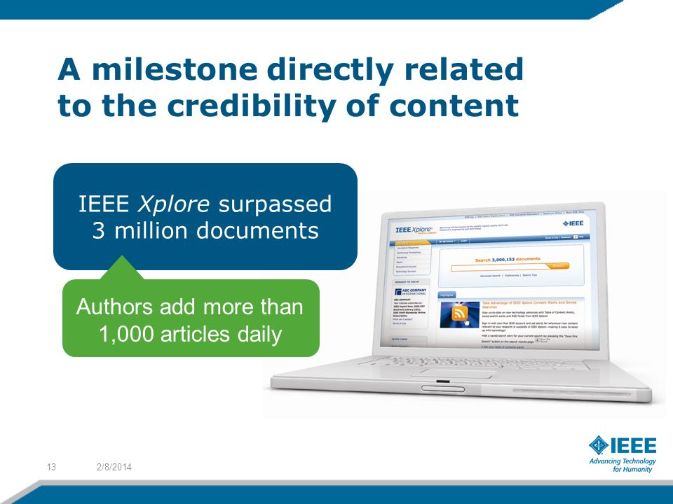 A milestone directly related to the credibility of content 2/8/201413 IEEE Xplore surpassed 3 million documents Authors add more than 1,000 articles daily