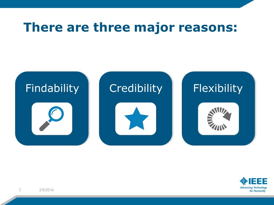 2/8/20143 FindabilityCredibilityFlexibility There are three major reasons: