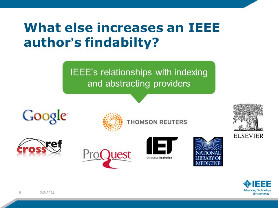What else increases an IEEE authors findabilty.