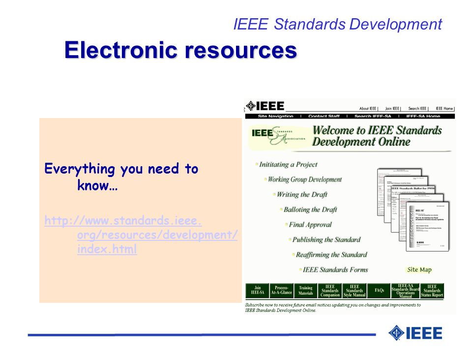 Everything you need to know… http://www.standards.ieee. org/resources/development/ index.html Electronic resources IEEE Standards Development