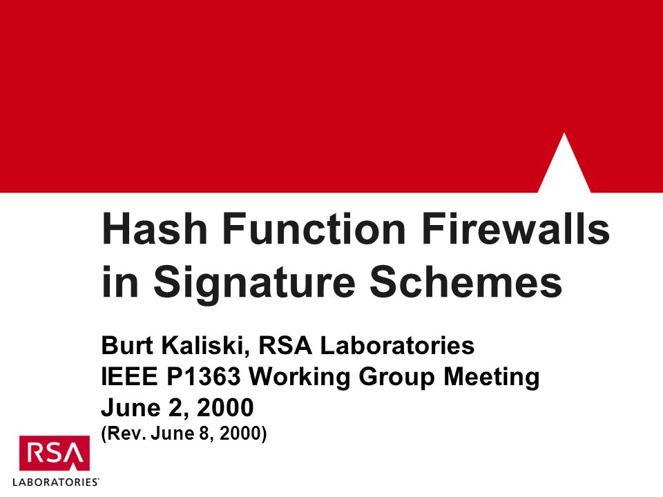 Hash Function Firewalls in Signature Schemes Burt Kaliski, RSA Laboratories IEEE P1363 Working Group Meeting June 2, 2000 (Rev.