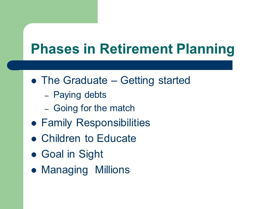 Phases in Retirement Planning The Graduate – Getting started – Paying debts – Going for the match Family Responsibilities Children to Educate Goal in Sight Managing Millions