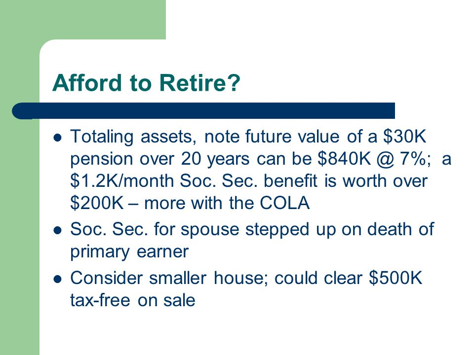 Afford to Retire.