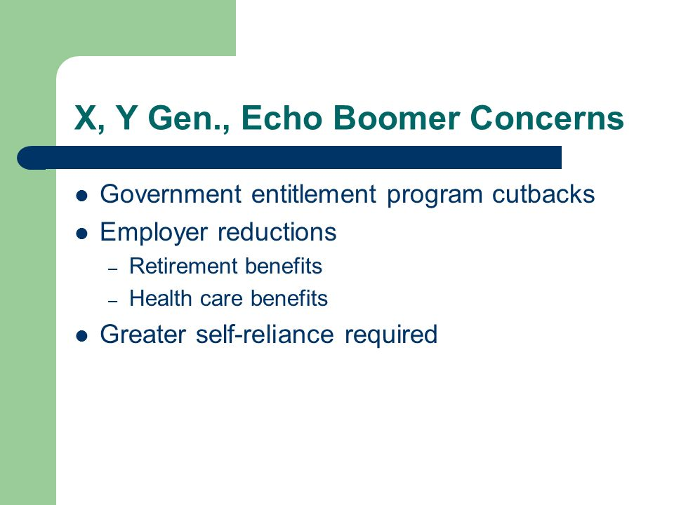 X, Y Gen., Echo Boomer Concerns Government entitlement program cutbacks Employer reductions – Retirement benefits – Health care benefits Greater self-reliance required