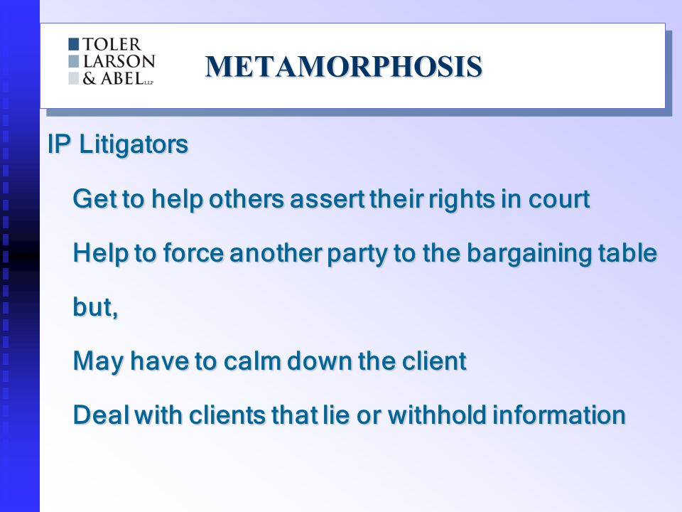 METAMORPHOSISMETAMORPHOSIS IP Litigators Get to help others assert their rights in court Help to force another party to the bargaining table but, May have to calm down the client Deal with clients that lie or withhold information