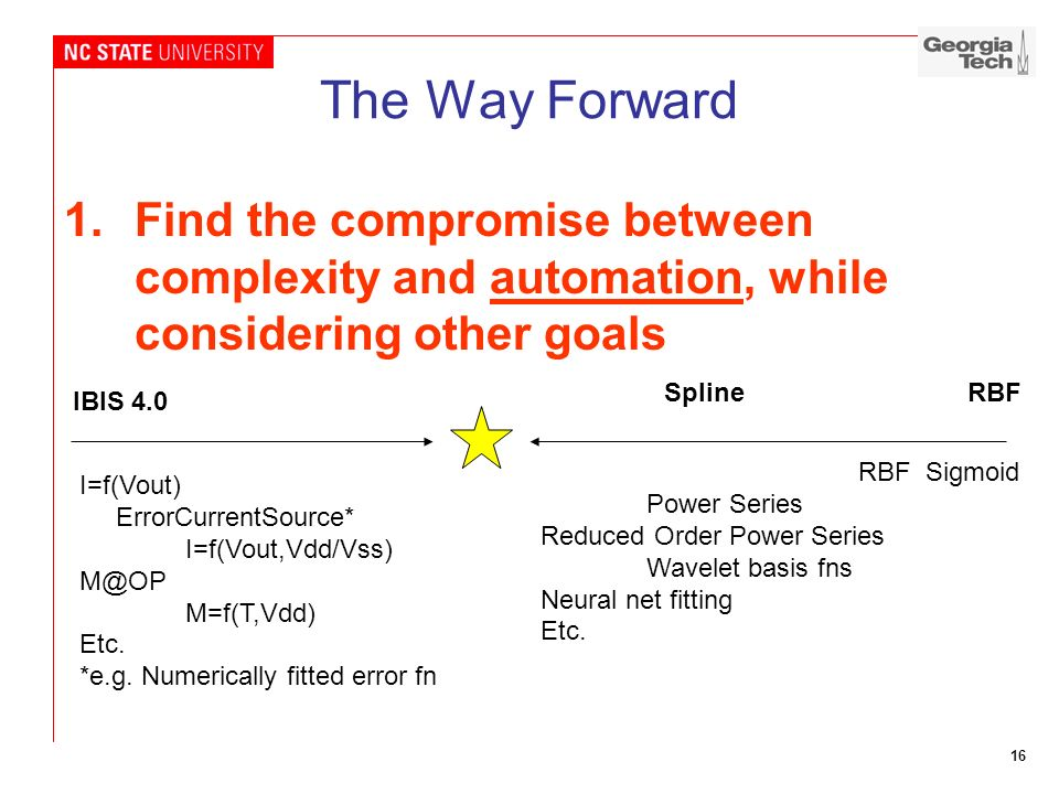 16 The Way Forward 1.Find the compromise between complexity and automation, while considering other goals IBIS 4.0 SplineRBF I=f(Vout) ErrorCurrentSou