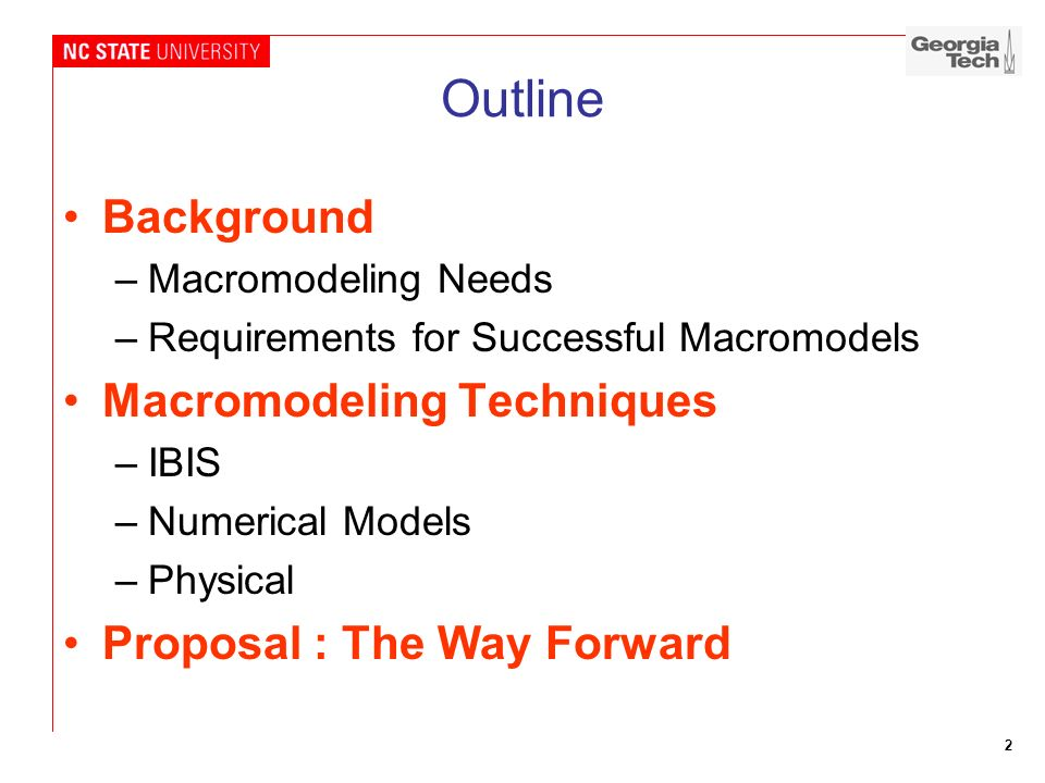 2 Outline Background –Macromodeling Needs –Requirements for Successful Macromodels Macromodeling Techniques –IBIS –Numerical Models –Physical Proposal