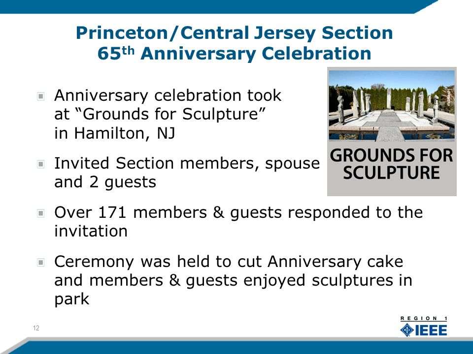 Princeton/Central Jersey Section 65 th Anniversary Celebration Anniversary celebration took place at Grounds for Sculpture in Hamilton, NJ Invited Section members, spouse and 2 guests Over 171 members & guests responded to the invitation Ceremony was held to cut Anniversary cake and members & guests enjoyed sculptures in park 12