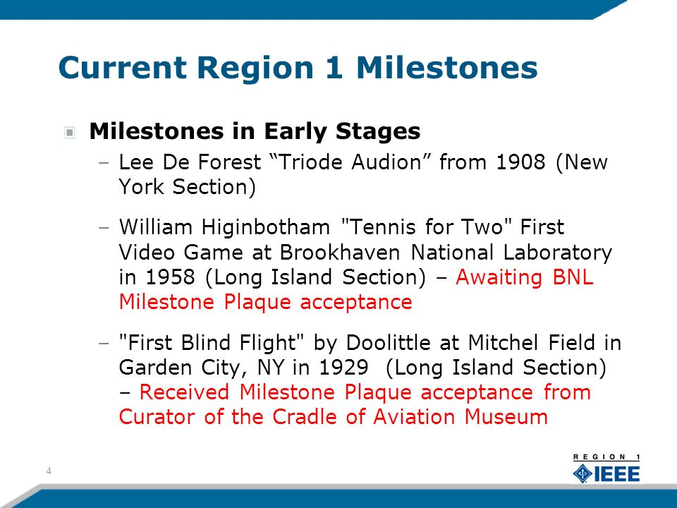 Current Region 1 Milestones Milestones in Early Stages –Lee De Forest Triode Audion from 1908 (New York Section) –William Higinbotham Tennis for Two First Video Game at Brookhaven National Laboratory in 1958 (Long Island Section) – Awaiting BNL Milestone Plaque acceptance – First Blind Flight by Doolittle at Mitchel Field in Garden City, NY in 1929 (Long Island Section) – Received Milestone Plaque acceptance from Curator of the Cradle of Aviation Museum 4