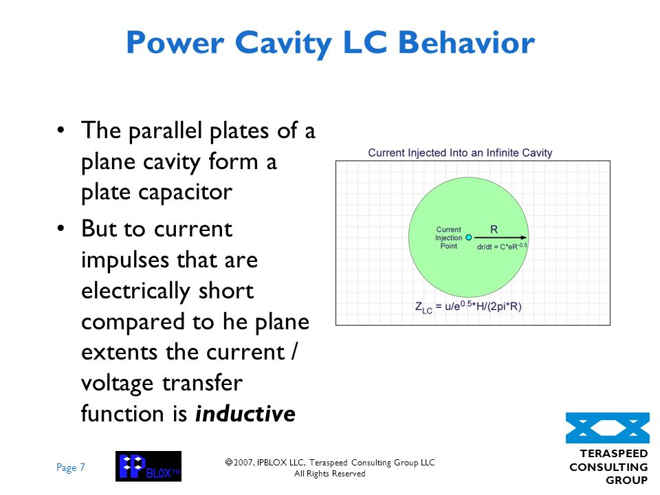 Page 7 TERASPEED CONSULTING GROUP 2007, IPBLOX LLC, Teraspeed Consulting Group LLC All Rights Reserved Power Cavity LC Behavior The parallel plates of a plane cavity form a plate capacitor But to current impulses that are electrically short compared to he plane extents the current / voltage transfer function is inductive