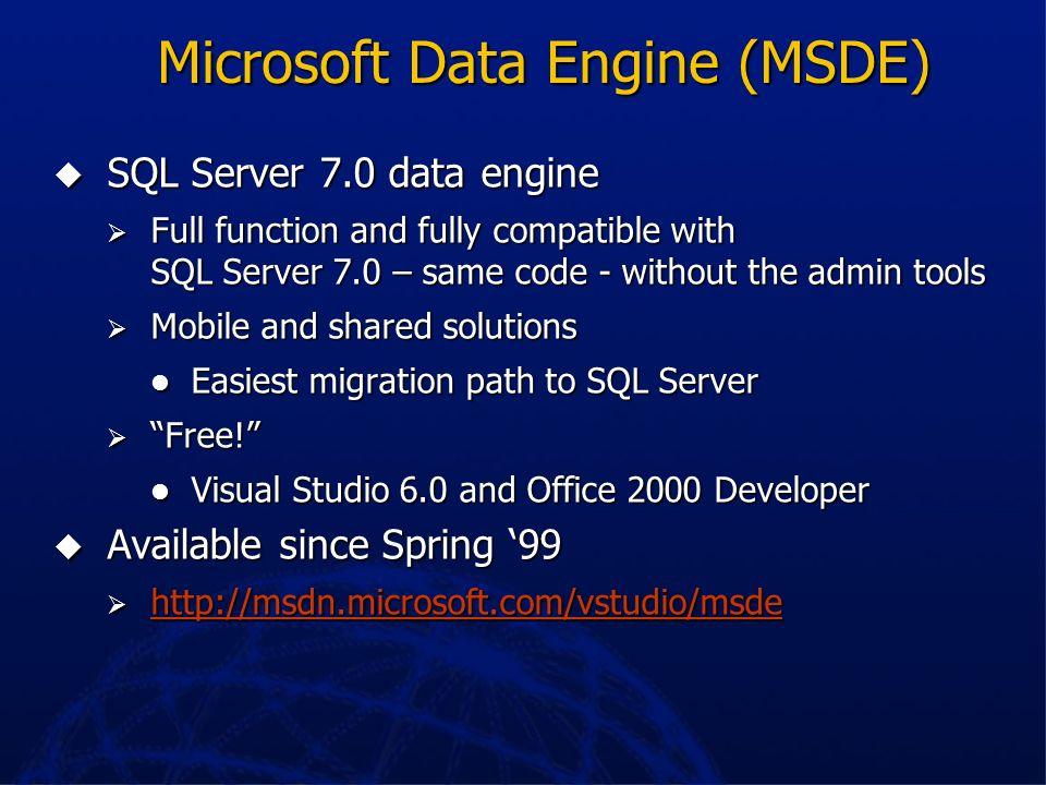 SQL Server 7.0 Best database for Line of Business Best database for Line of Business Self-tuning, self-managing Self-tuning, self-managing Scalable fr