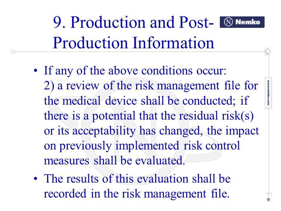 If any of the above conditions occur: 2) a review of the risk management file for the medical device shall be conducted; if there is a potential that