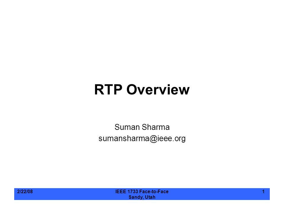 2/22/08IEEE 1733 Face-to-Face Sandy, Utah 1 RTP Overview Suman Sharma sumansharma@ieee.org