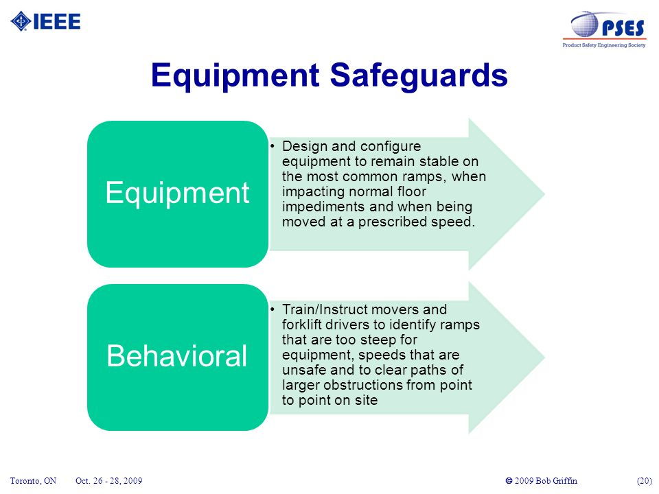 2009 Bob Griffin (20) Toronto, ONOct. 26 - 28, 2009 Equipment Safeguards Design and configure equipment to remain stable on the most common ramps, whe