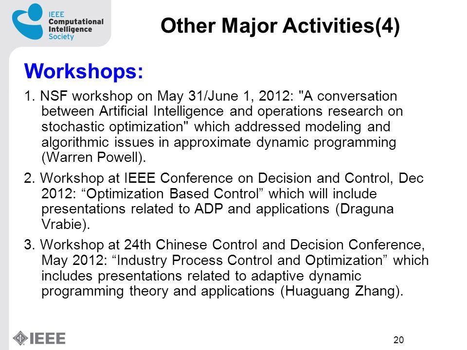 20 Other Major Activities(4) Workshops: 1.