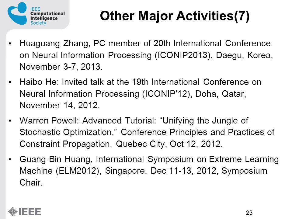 23 Huaguang Zhang, PC member of 20th International Conference on Neural Information Processing (ICONIP2013), Daegu, Korea, November 3-7, 2013.