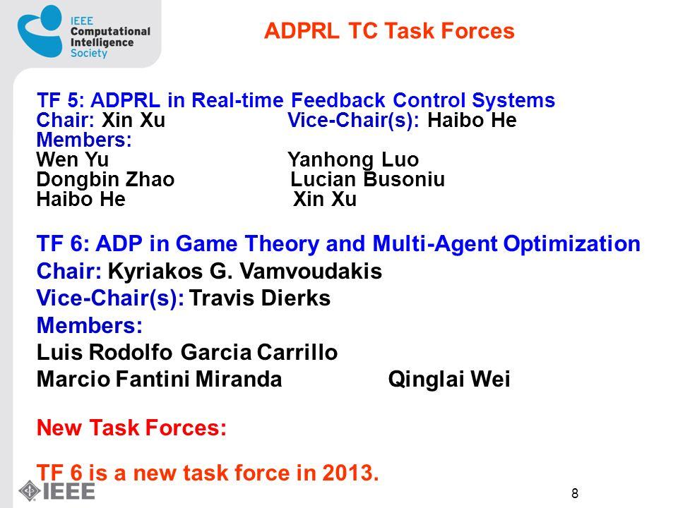 8 TF 5: ADPRL in Real-time Feedback Control Systems Chair: Xin Xu Vice-Chair(s): Haibo He Members: Wen Yu Yanhong Luo Dongbin Zhao Lucian Busoniu Haibo He Xin Xu TF 6: ADP in Game Theory and Multi-Agent Optimization Chair: Kyriakos G.