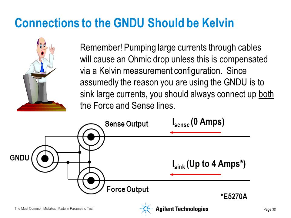 The Most Common Mistakes Made in Parametric Test Page 38 Connections to the GNDU Should be Kelvin Remember.