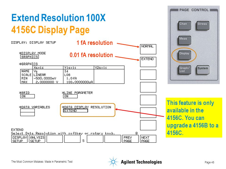 The Most Common Mistakes Made in Parametric Test Page 46 Extend Resolution 100X 4156C Display Page This feature is only available in the 4156C.