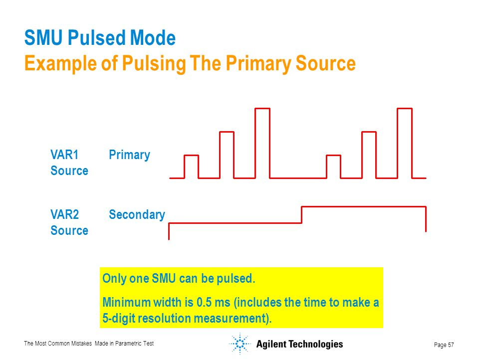 The Most Common Mistakes Made in Parametric Test Page 57 SMU Pulsed Mode Example of Pulsing The Primary Source VAR1 Primary Source VAR2 Secondary Source Only one SMU can be pulsed.