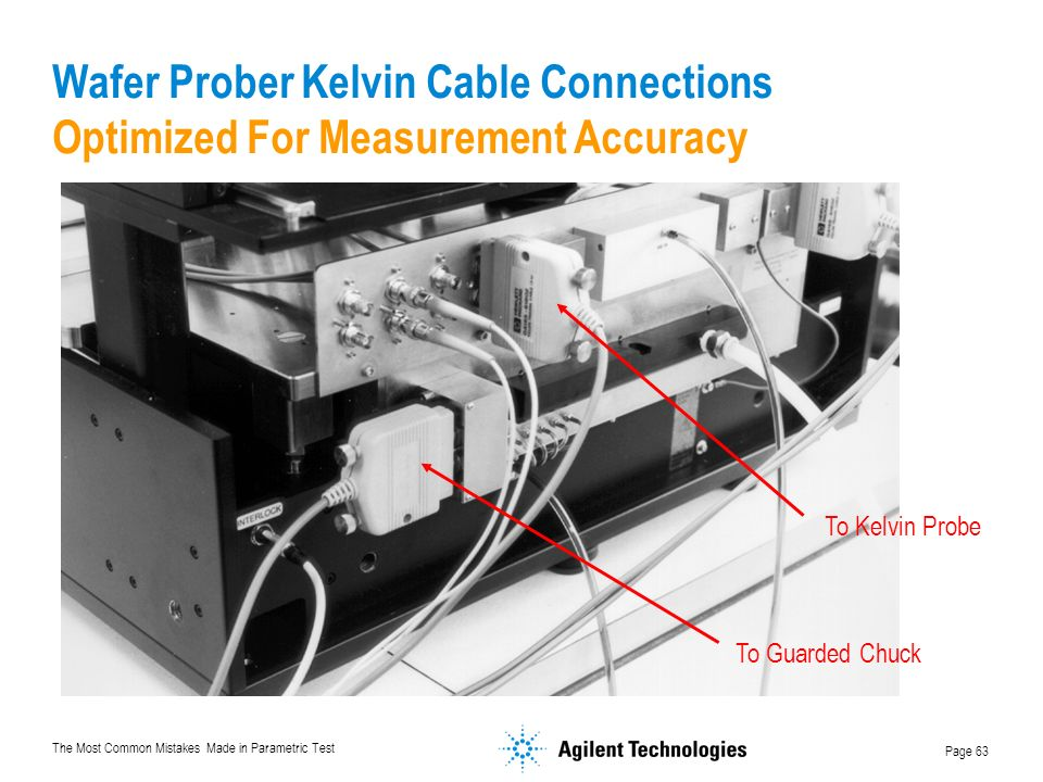 The Most Common Mistakes Made in Parametric Test Page 63 To Kelvin Probe To Guarded Chuck Wafer Prober Kelvin Cable Connections Optimized For Measurement Accuracy