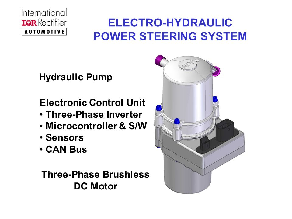 ELECTRO-HYDRAULIC POWER STEERING SYSTEM Hydraulic Pump Electronic Control Unit Three-Phase Inverter Microcontroller & S/W Sensors CAN Bus Three-Phase Brushless DC Motor