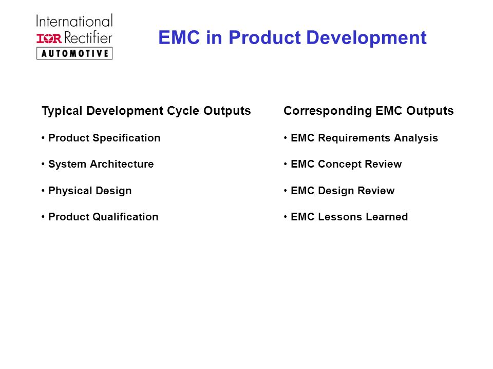 EMC in Product Development Typical Development Cycle Outputs Product Specification System Architecture Physical Design Product Qualification Correspon