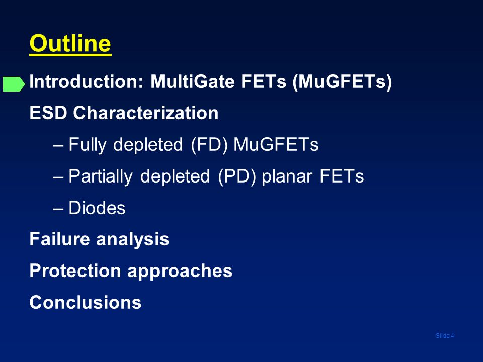 Slide 4 Outline Introduction: MultiGate FETs (MuGFETs) ESD Characterization –Fully depleted (FD) MuGFETs –Partially depleted (PD) planar FETs –Diodes