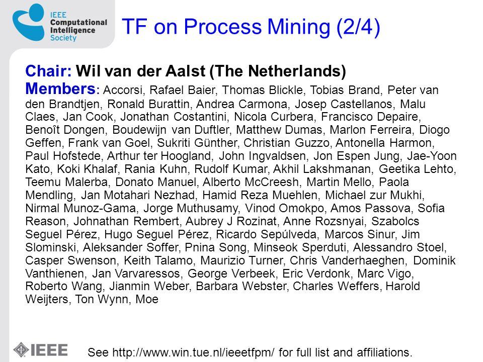TF on Process Mining (2/4) Chair: Wil van der Aalst (The Netherlands) Members : Accorsi, Rafael Baier, Thomas Blickle, Tobias Brand, Peter van den Bra