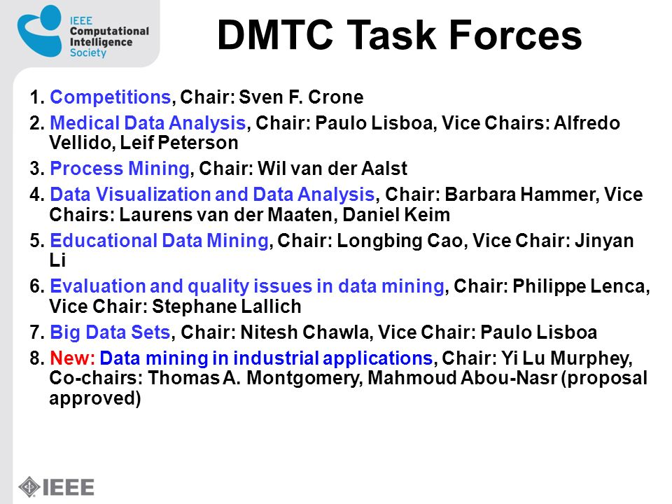 DMTC-TF on Educational Data Mining (2/2) Aim: EDM is concerned with the analyzis of data from educational settings, including interactive learning systems, intelligent tutoring systems and institutional administration data.