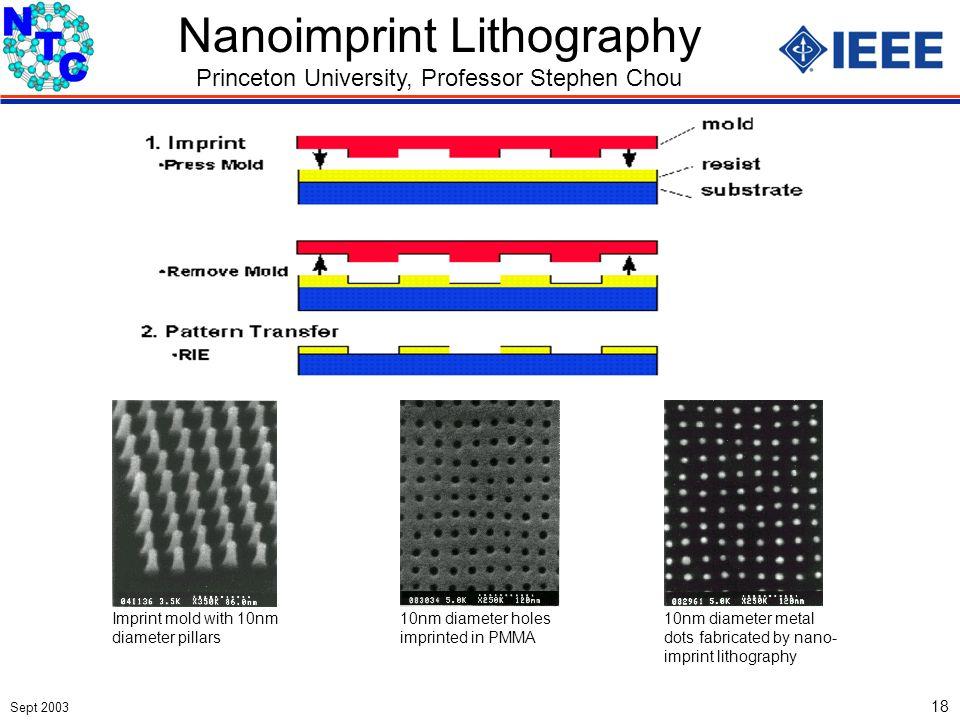 Sept 2003 18 Nanoimprint Lithography Princeton University, Professor Stephen Chou Imprint mold with 10nm diameter pillars 10nm diameter holes imprinte