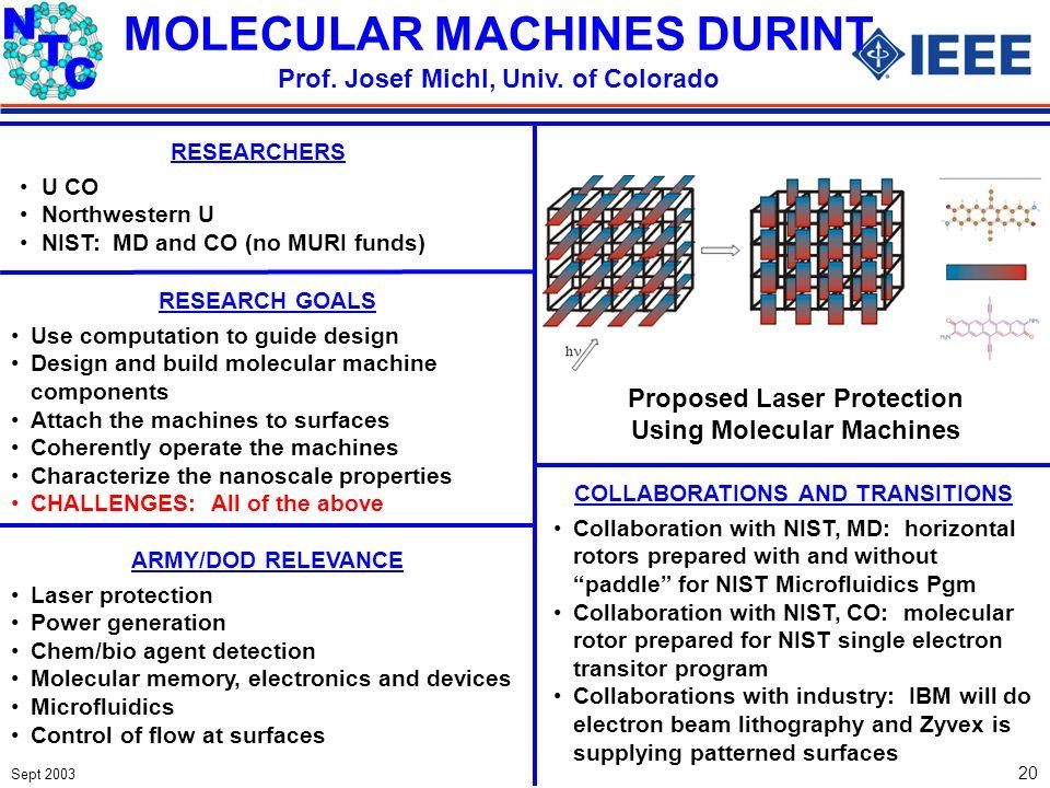 Sept 2003 20 RESEARCHERS U CO Northwestern U NIST: MD and CO (no MURI funds) MOLECULAR MACHINES DURINT Prof. Josef Michl, Univ. of Colorado COLLABORAT