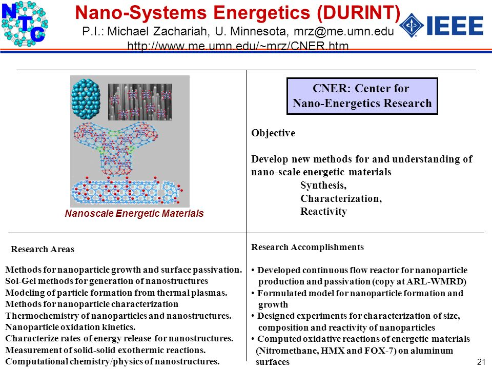 Sept 2003 21 Nano-Systems Energetics (DURINT) P.I.: Michael Zachariah, U.