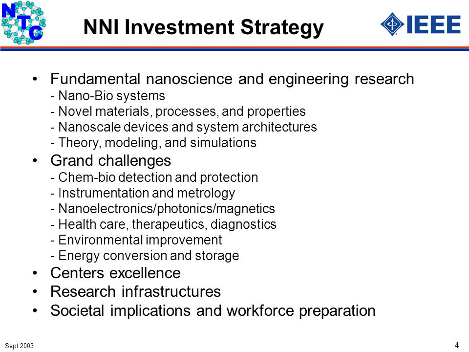 Sept 2003 4 NNI Investment Strategy Fundamental nanoscience and engineering research - Nano-Bio systems - Novel materials, processes, and properties -