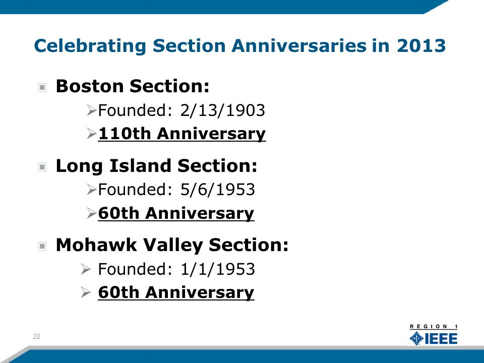Celebrating Section Anniversaries in 2013 Boston Section: Founded: 2/13/1903 110th Anniversary Long Island Section: Founded: 5/6/1953 60th Anniversary
