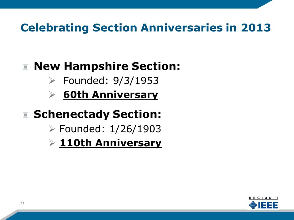 Celebrating Section Anniversaries in 2013 New Hampshire Section: Founded: 9/3/1953 60th Anniversary Schenectady Section: Founded: 1/26/1903 110th Anniversary 23