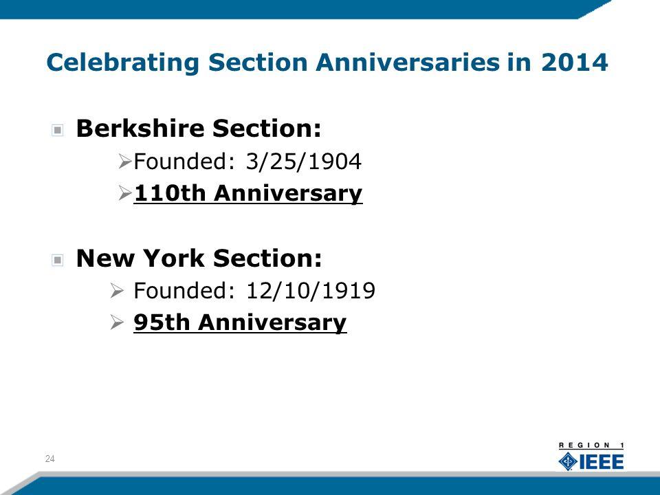 Celebrating Section Anniversaries in 2014 Berkshire Section: Founded: 3/25/1904 110th Anniversary New York Section: Founded: 12/10/1919 95th Anniversary 24