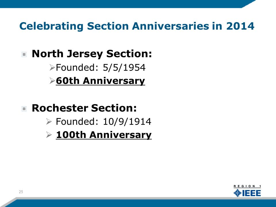 Celebrating Section Anniversaries in 2014 North Jersey Section: Founded: 5/5/1954 60th Anniversary Rochester Section: Founded: 10/9/1914 100th Anniversary 25