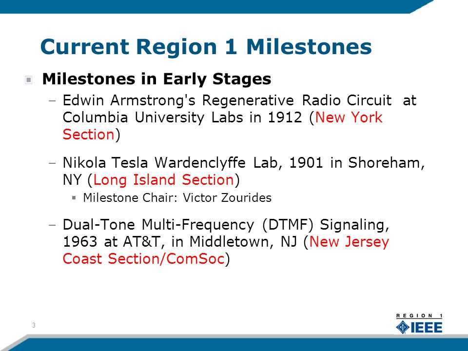 Current Region 1 Milestones Milestones in Early Stages –Edwin Armstrong's Regenerative Radio Circuit at Columbia University Labs in 1912 (New York Sec