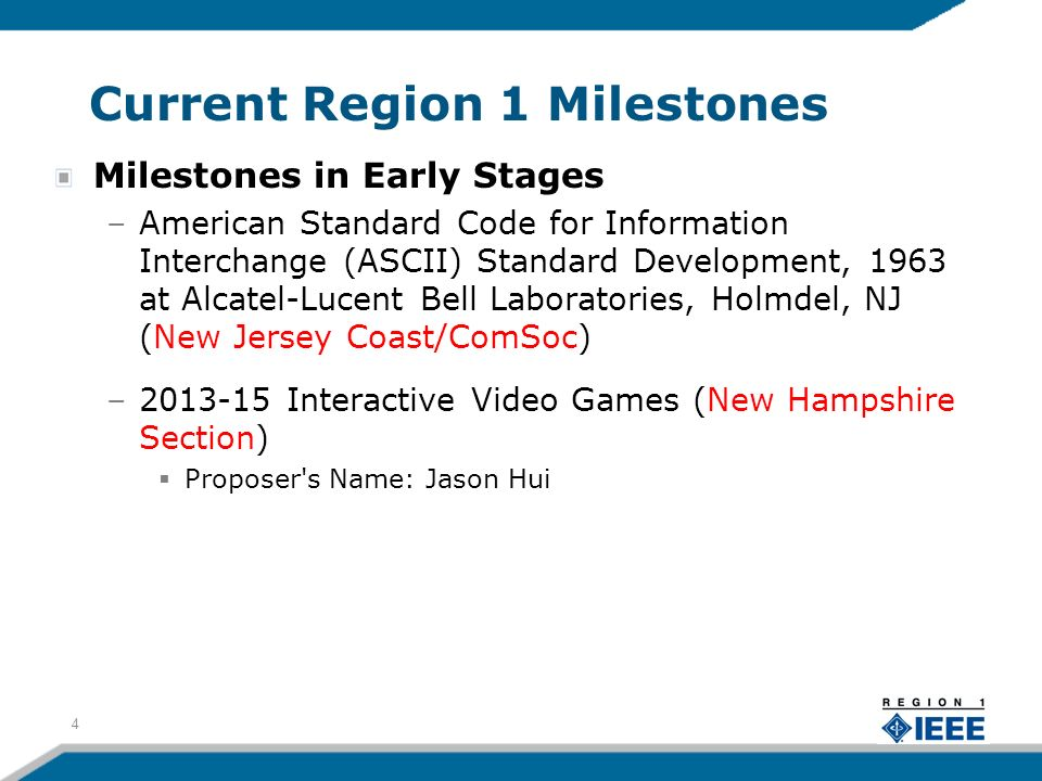 Current Region 1 Milestones Milestones in Early Stages –American Standard Code for Information Interchange (ASCII) Standard Development, 1963 at Alcat