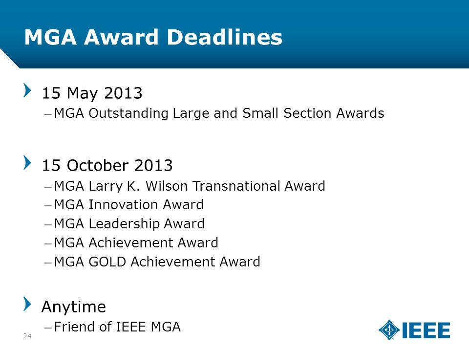 12-CRS-0106 12/12 MGA Award Deadlines 15 May 2013 –MGA Outstanding Large and Small Section Awards 15 October 2013 –MGA Larry K. Wilson Transnational A