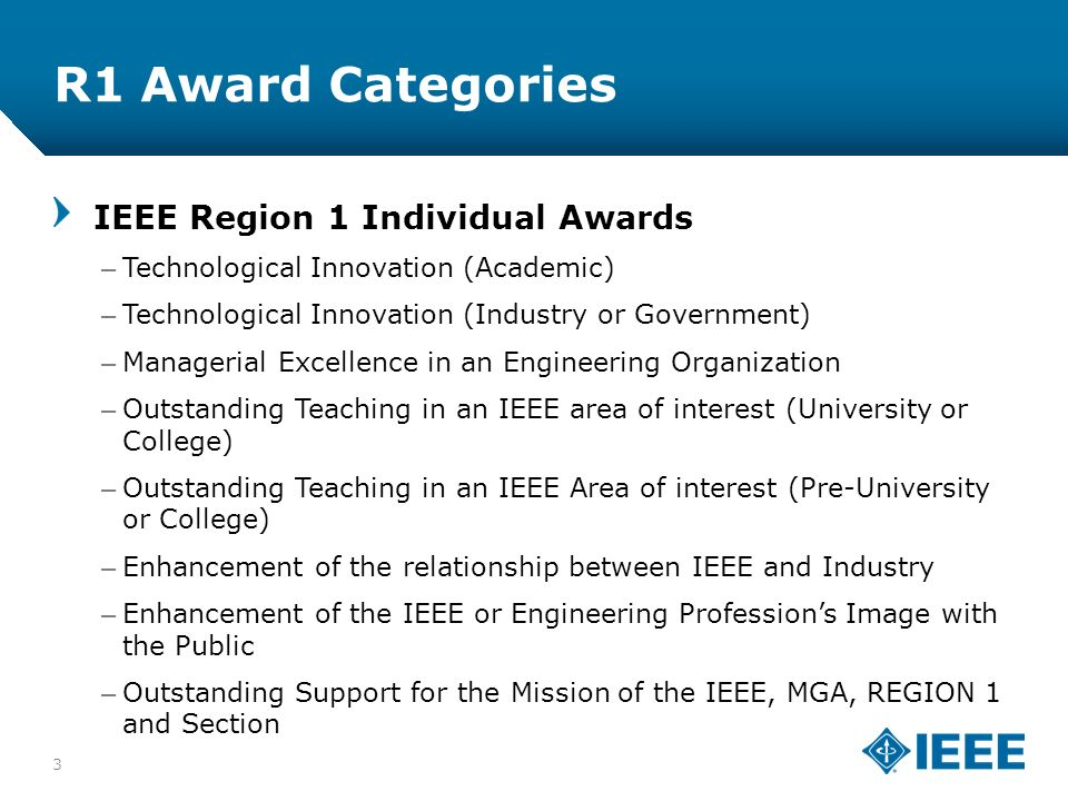12-CRS-0106 12/12 R1 Award Categories 3 IEEE Region 1 Individual Awards –Technological Innovation (Academic) –Technological Innovation (Industry or Government) –Managerial Excellence in an Engineering Organization –Outstanding Teaching in an IEEE area of interest (University or College) –Outstanding Teaching in an IEEE Area of interest (Pre-University or College) –Enhancement of the relationship between IEEE and Industry –Enhancement of the IEEE or Engineering Professions Image with the Public –Outstanding Support for the Mission of the IEEE, MGA, REGION 1 and Section