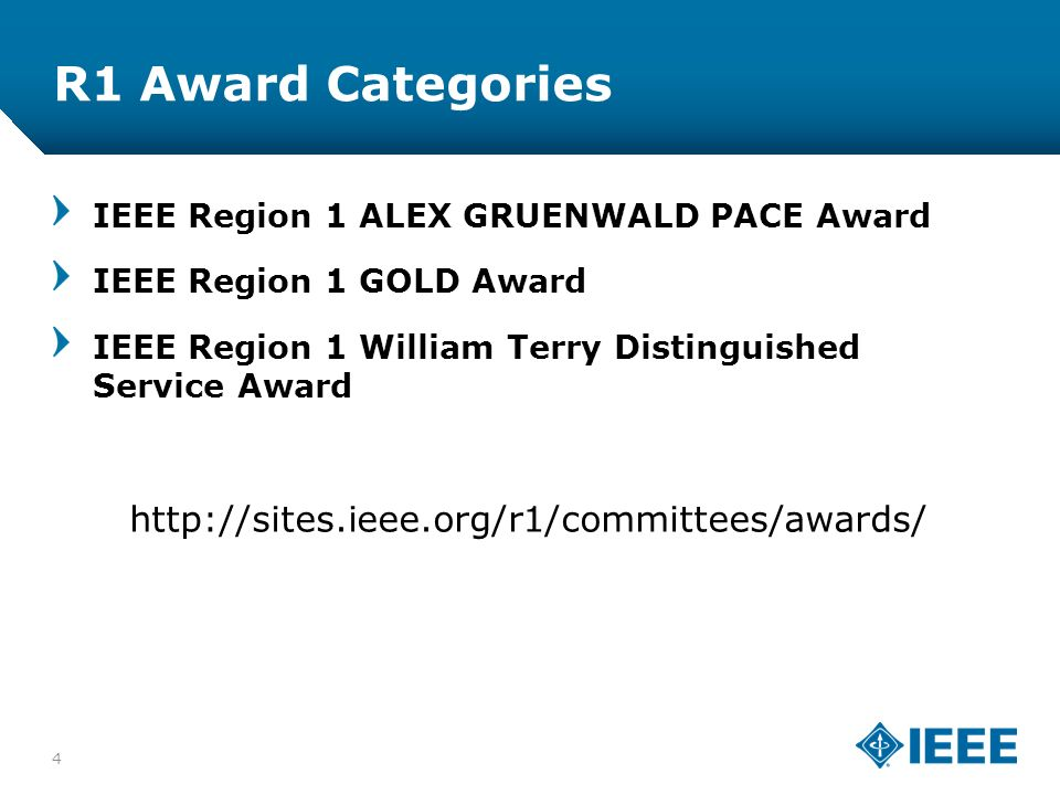12-CRS-0106 12/12 R1 Award Categories 4 IEEE Region 1 ALEX GRUENWALD PACE Award IEEE Region 1 GOLD Award IEEE Region 1 William Terry Distinguished Service Award http://sites.ieee.org/r1/committees/awards/
