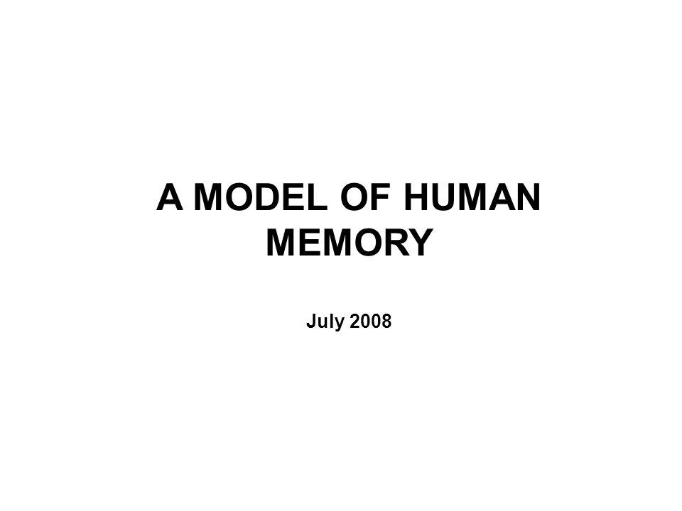 A MODEL OF HUMAN MEMORY July 2008