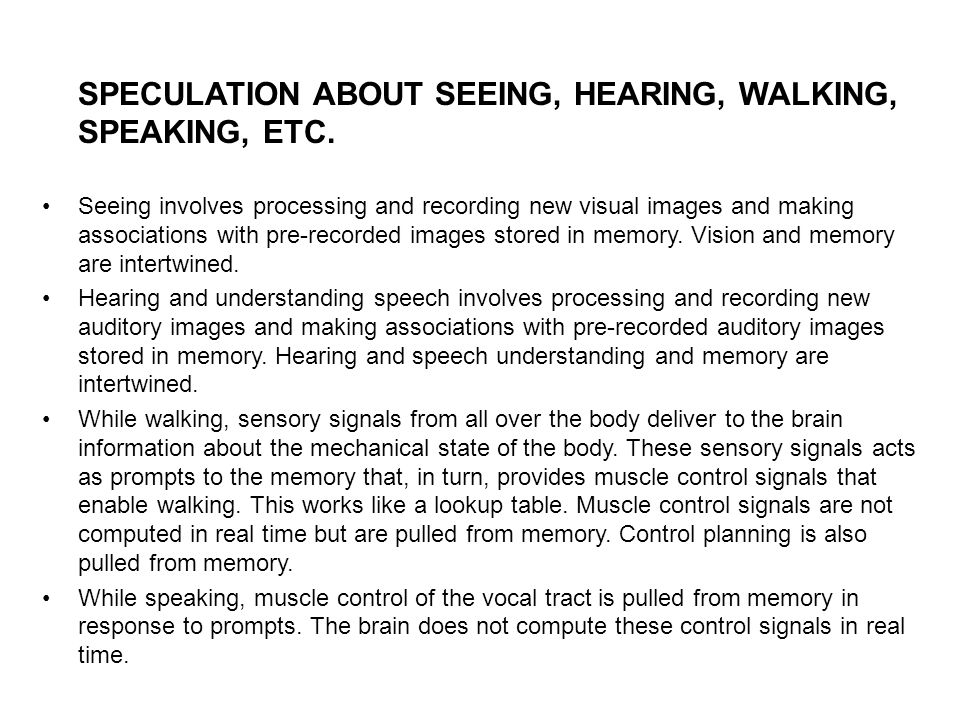 SPECULATION ABOUT SEEING, HEARING, WALKING, SPEAKING, ETC.